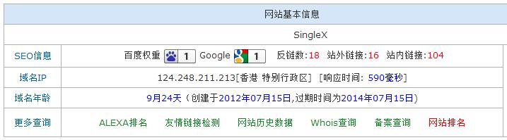 www.singlex.net网站基本信息